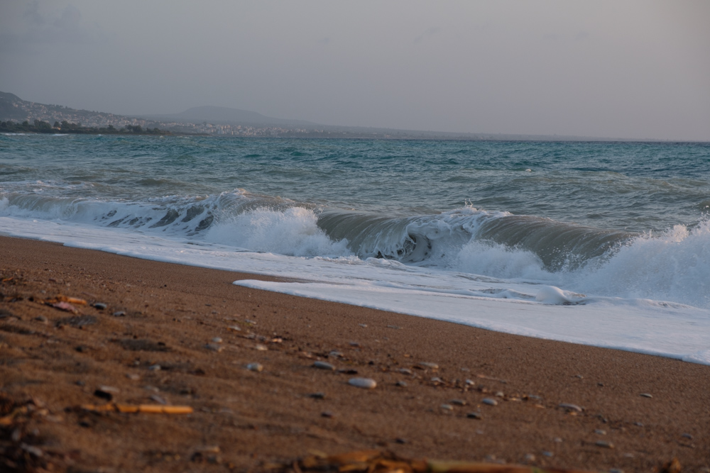 This was taken when the waves had calmed down a bit, but they were still crashing into the beach
