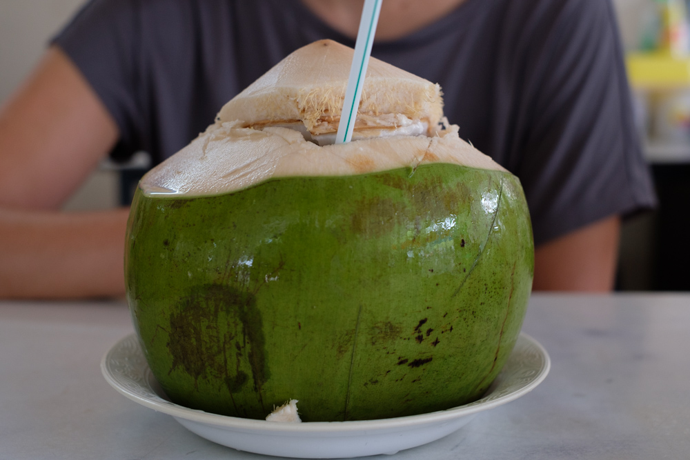 Fresh coconut, full to the brim with water. It took me a second to recognise it as a coconut. It's very different to how we get them in England