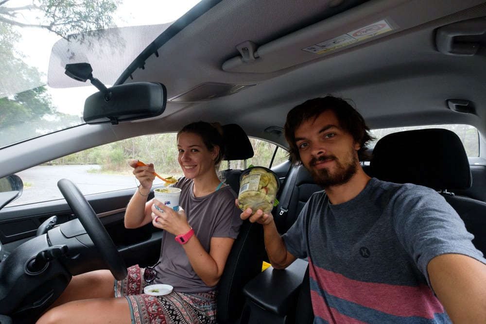 Our first of many car picnics – where we eat last night's dinner which we stuff into old yoghurt pots. Eco-friendly and cheap all at the same time, a traveller's dream